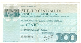 63/64 N. 2 MINIASSEGNI ISTITUTO CENTRALE BANCHE E BANCHIERI 1977 100 LIT - Monete & Banconote