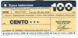 59/60 N.2 MINIASSEGNI BANCO AMBROSIANO 1976 100 LIT - Coins & Banknotes