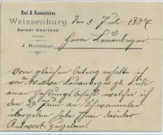 Brief Vom Bad & Kuranstalt Weissenburg 1897 - J. Ruprecht - Svizzera
