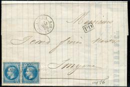 """FRANCE - N° 29A (2) OBL. ANCRE + CAD """" LIGNE X / PAQ. FR. N°2 LE 28/5/1870 """" / LETTRE DE MARSEILLE POUR SMYRNE - TB - Marcophilie (Lettres)"""