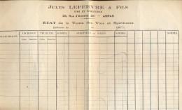 Facture Faktuur - Brasserie  - Jules Lefebvre & Fils Arras - - Factures & Documents Commerciaux