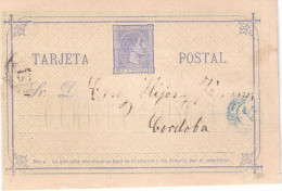 Tarjeta De Alfonso XII Edifil 8, Dirigida Desde Lopera Hasta Córdoba Con Fechadores De Salida Y Llegada. - Entiers Postaux