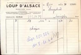 Facture Faktuur - Loup D'Alsace - Ronchin - Factures & Documents Commerciaux