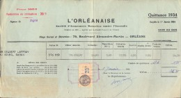 Facture Faktuur - Assurance L´Orleanaise - Quittance 1934 - Gilbert Laffray Saran - France