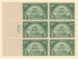 """USA SC #614 MNH PB6  1c Hug-Wall, P#15779, W/UL Stamp Surf Disturb From Perf Dimple Remvl (above """"1"""" Of """"1924""""), CV $60 - Numéros De Planches"""
