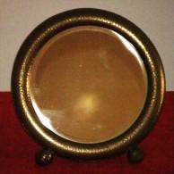 ESPEJO REDONDO DE SOBREMESA MODERNISTA - Art Nouveau Round Mirror - Glass & Crystal
