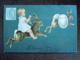 Carte Fantaisie , Paques , Lapins - Pâques