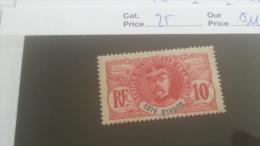 LOT 227303 TIMBRE DE COLONIE COTE IVOIRE NEUF* N�25 VALEUR 11,6 EUROS