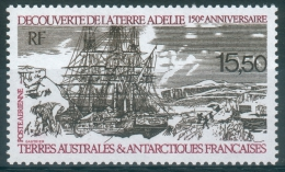 French Antarctic (FSAT), Discovery Of Adelie Land By Dumont Durville, 1990, MNH VF  Air Post - Airmail