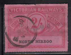 Victorian Railways 2sh Parcels Stamp, Rouletted Station: North Mirboo - 1850-1912 Victoria