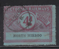 Victorian Railways 4p Parcels Stamp, Perforated Station: North Mirboo - 1850-1912 Victoria