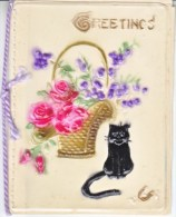 DEPRESSION  ERA  1929´s   CHRISTMAS  CARD  CELLULOID  FRONT  CAT - Mechanical