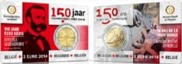 BELGIO BELGIQUE BELGIE BELGIEN COINCARD 2 EURO COMM. 2014 150° CROCE ROSSA - België
