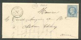 Lettre De Pogny Par Vitry La Ville Pour Château Thierry 1868 - Postmark Collection (Covers)