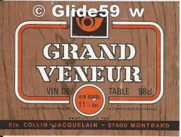 Etiquette De Vin - Grand Veneur - Vin De Table - Vin Rouge - 98 Cl - 11% Vol. - Ets Collin-Jacquelain - 21500 MONTBARD - Vino Tinto