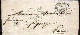 FRANCE - Marque Postale De  Maubeuge Pour Paris De Janvier 1854 Avec Taxe 25 à Double Traits - Postmark Collection (Covers)