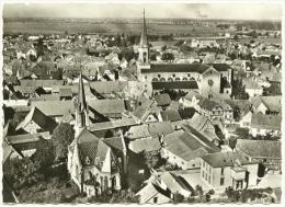 CPSM Photo EN AVION AU-DESSUS DE 6 ERSTEIN Bas-Rhin Les Eglises 67150 église St Martin Temple Protestant Vue Aérienne 67 - Frankreich