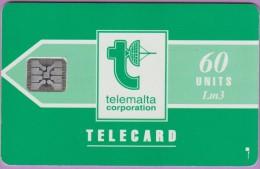 Malte  9  :-.   Telemalta 60  Corpo  °  Verte  -  Logo Blanc  ° Sc4 . C311-41005   **   T B E - Malte