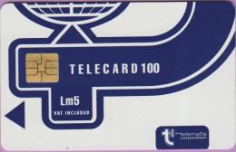 Malte  23  :-.   Telecard  100  °  Lm5 -  °  Bleu Marine  -  Logo Telemalta  ° So3 . Grand Laser  44582   **   T B E - Malte