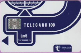 Malte  23.a  :-.   Telecard  100  °  Lm5 -  °  Bleu Marine  -  Logo Telemalta  °  Sc7 .  C561-50833   **   T B E - Malte