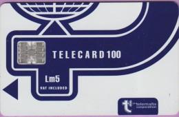 Malte  23.a  :-.   Telecard  100  °  Lm5 -  °  Bleu Marine  -  Logo Telemalta  °  Sc7 .  C561-50845   **   T B E - Malte