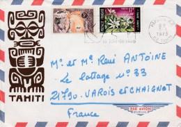 POLYNESIE YT 28+ 65 SUR LETTRE PAPEETE 8/1/73 POUR FRANCE - Polynésie Française