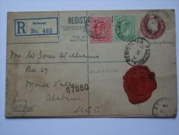 EDWARD VII 1910 REGISTERED NORWOOD COVER TO ALABAMA USA WITH WASHINGTON MARK - 1902-1951 (Kings)