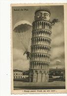 Carte Surrealiste Parachutisme Suicide De La Tour De Pise Pisa Timbrée Pisa - Paracaidismo