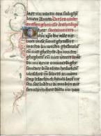MIDDELNEDERLANDS FOLIO UIT GETIJDENBOEK OP PERKAMENT. Ca 1500.  (met Goud Verhoogde Letterine) (93 X 128 Mm.) - Manuscritos