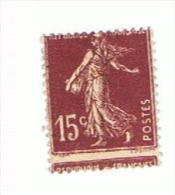 15c Semeuse Yvert 189, Piquage à Cheval (oblitéré) - Curiosità: 1921-30 Usati