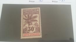 LOT 227463 TIMBRE DE COLONIE COTE IVOIRE NEUF* N�30 VALEUR 15 EUROS