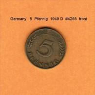 GERMANY   5  PFENNIG  1949 D   (KM # 102) - 5 Pfennig