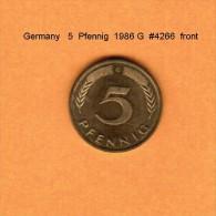 GERMANY   5  PFENNIG  1986 G   (KM # 105) - 5 Pfennig