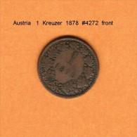 AUSTRIA   1  KREUZER  1878   (KM # 2186) - Austria