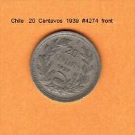 CHILE   20  CENTAVOS  1939   (KM # 167.3) - Chile