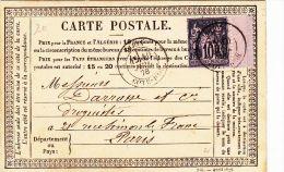 COTE D´OR -  Oblit Sur Sage  DIJONT188910/07/1878 (Lot53_8) - Marcophilie (Lettres)