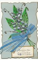 Carte Muguet En Argent Aluminium , Ruban De Soie Souvenir De Mai Porte Bonheur - Fleurs, Plantes & Arbres