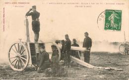 ARTILLERIE  FRANCAISE,3é REGIMENT,,,ARTILLERIE En CAMPAGNE,,,,ECOLES A FEU De 75,,,BATTERIE MASQUEE,1907,,,TBE,,, - Régiments