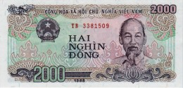 VIETNAM 2000 DONG BANKNOTE 1988 PICK NO.107 UNCIRCULATED UNC - Vietnam
