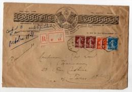 1921 - GRANDE ENVELOPPE ILLUSTREE RECOMMANDEE De PARIS 88 - RECETTE AUXILIAIRE + AFFRANCHISSEMENT TRICOLORE SEMEUSE - France