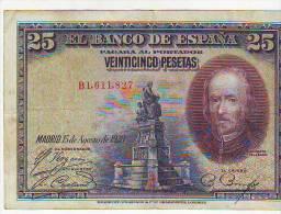 ESPAÑA BILLETES LOTE 38 VENTICINCO PESETAS EMSION 1923 CALDERON DE LA BARCA CON DOBLECES EN EL CENTRO  CIRCULADO - [ 2] 1931-1936 : République