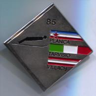 SKI / SKIING - PLANICA, Slovenia, TARVISIO Italy, VILLACH Austria, Vintage Pin, Big Badge, 40x40mm - Winter Sports