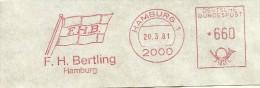 Germany Nice Cut Meter F.H. Bertling Flag, Hamburg 20-3-1981 - Transportmiddelen