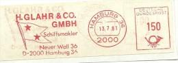 Germany Nice Cut Meter H. Glahr & Co Schiffmakler, Hamburg 13-7-1981 - Transportmiddelen