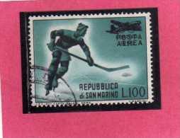 SAN MARINO 1956 POSTA AEREA AIR MAIL GIOCHI OLIMPICI CORTINA D´AMPEZZO OLYMPIC GAMES USATO USED - Posta Aerea