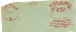 Germany  Nice Cut Meter VAUELFA, Vereinigte Leitungsdreht Fabriken, Berlin 4-2-1931 - Duitsland