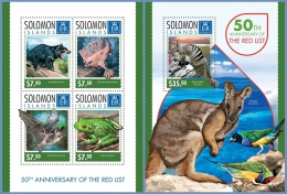 slm14319ab Solomon Is. 2014 Red List 2 s/s Fish Bat Frog Bird