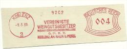 Germany  Nice Cut Meter  Vereingte Weingutsbesitzer Mosel. Koblenz 9-3-1939 - Wijn & Sterke Drank