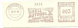 Germany  Nice Cut Meter  Shell Autooel Dat Schnell Start Oel Im Winter, Dresden 10-12-1938 - Transportmiddelen