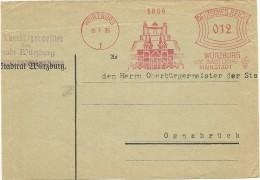 Germany  Cover  With Nice Pictorial Meter Wurzburg, Die Gastliche Mainstad, Wurzburg 13-7-1935 - Duitsland